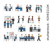office life business situations ... | Shutterstock .eps vector #424421134