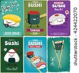 vintage sushi poster design... | Shutterstock .eps vector #424422070