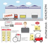 concept of warehouse management | Shutterstock .eps vector #424429294