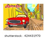 retro car and old city streets... | Shutterstock .eps vector #424431970