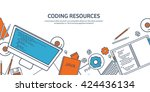 programming coding background... | Shutterstock .eps vector #424436134