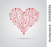 red heart from circuit board | Shutterstock .eps vector #424438336