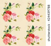 seamless floral pattern three... | Shutterstock .eps vector #424439788