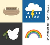 noah's ark icons set  rainbow ...