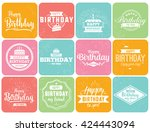 happy birthday typographic set. ... | Shutterstock .eps vector #424443094