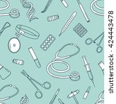 big collection of medical tools ... | Shutterstock .eps vector #424443478