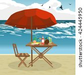 summer on the beach  umbrella ...   Shutterstock .eps vector #424445950