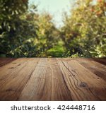 table space and apple garden of ... | Shutterstock . vector #424448716