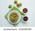 home made crispy fenugreek deep ... | Shutterstock . vector #424449394