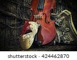 Vintage Venetian Musical Notes Mask with Violin and Roman Column - stock photo