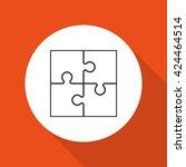 four piece flat puzzle round... | Shutterstock . vector #424464514
