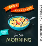 best breakfast for best morning ... | Shutterstock .eps vector #424466323