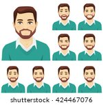 handsome beard man with... | Shutterstock .eps vector #424467076