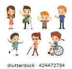 set of disabled people. flat... | Shutterstock .eps vector #424472734
