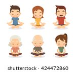 meditation characters set. flat ... | Shutterstock .eps vector #424472860