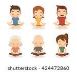 meditation characters set. flat ... | Shutterstock .eps vector #424472860