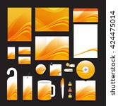 template of brochure mug and... | Shutterstock .eps vector #424475014