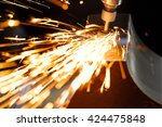 drill with diamond tipped... | Shutterstock . vector #424475848