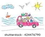 vector drawing made by a child  ... | Shutterstock .eps vector #424476790