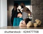 sad  desperate little boy... | Shutterstock . vector #424477708