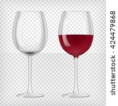 two wine glasses  one empty and ... | Shutterstock .eps vector #424479868