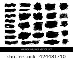 set of black paint  ink brush... | Shutterstock .eps vector #424481710