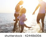 happy young family having fun... | Shutterstock . vector #424486006
