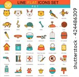 Stock vector vector home pets animal flat line icon set modern elegant style design icons for web 424486309