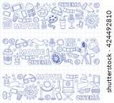 vector pattern with cinema hand ... | Shutterstock .eps vector #424492810