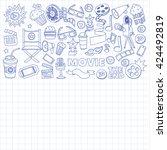 vector pattern with cinema hand ...   Shutterstock .eps vector #424492819