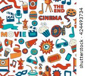 vector pattern with cinema hand ... | Shutterstock .eps vector #424493734