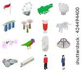 isometric 3d singapore city set.... | Shutterstock .eps vector #424494400