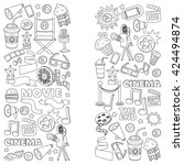 vector pattern with cinema hand ... | Shutterstock .eps vector #424494874
