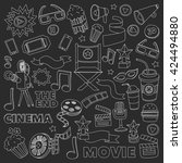 vector pattern with cinema hand ... | Shutterstock .eps vector #424494880