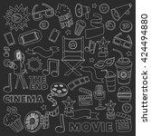 vector pattern with cinema hand ... | Shutterstock .eps vector #424494880