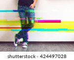 glitched style photo of young... | Shutterstock . vector #424497028