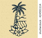 traditional tattoo flash palm... | Shutterstock .eps vector #424501114