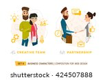 business characters in circle.... | Shutterstock .eps vector #424507888