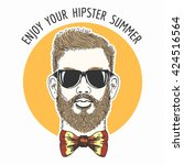 hipster face with hair glasses  ... | Shutterstock .eps vector #424516564