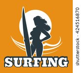 the woman with surfboard...   Shutterstock .eps vector #424516870