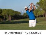 pro golf player shot ball from... | Shutterstock . vector #424523578