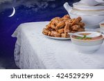 bowl of moroccan harira soup...   Shutterstock . vector #424529299