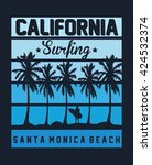 california surfing  santa... | Shutterstock .eps vector #424532374