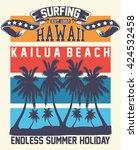 hawaii surfing  kailua beach ... | Shutterstock .eps vector #424532458
