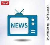 news on tv. flat design style....
