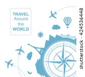 travel around the world vector... | Shutterstock .eps vector #424536448