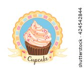 delicious cupcake. cute emblem... | Shutterstock .eps vector #424542844