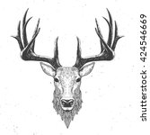 Deer Head On White  Hand Drawn...