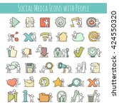 multimedia icons set with... | Shutterstock .eps vector #424550320