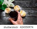 black tea in a glass cup   Shutterstock . vector #424550974